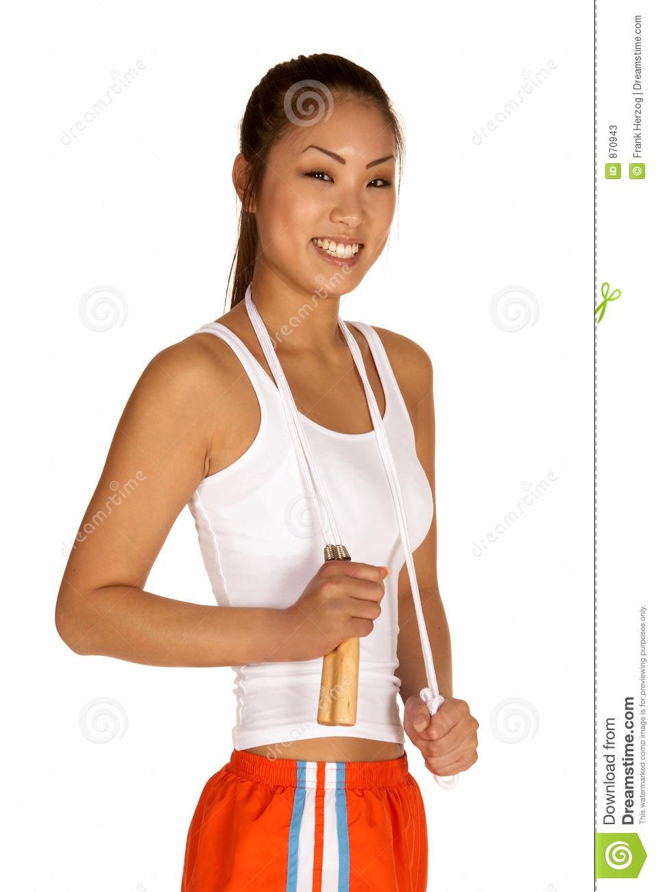 Smiling Young Asian Woman with Jump Rope