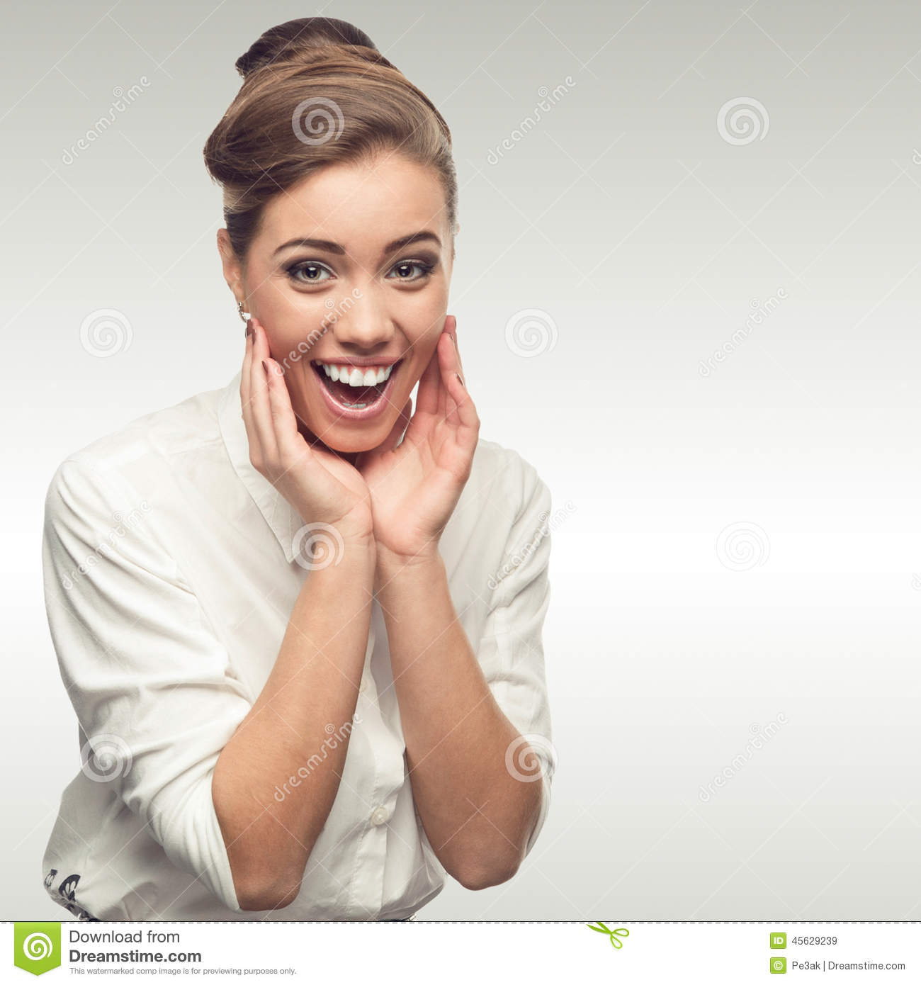 Surprised And Laughing Business Woman In Office Stock