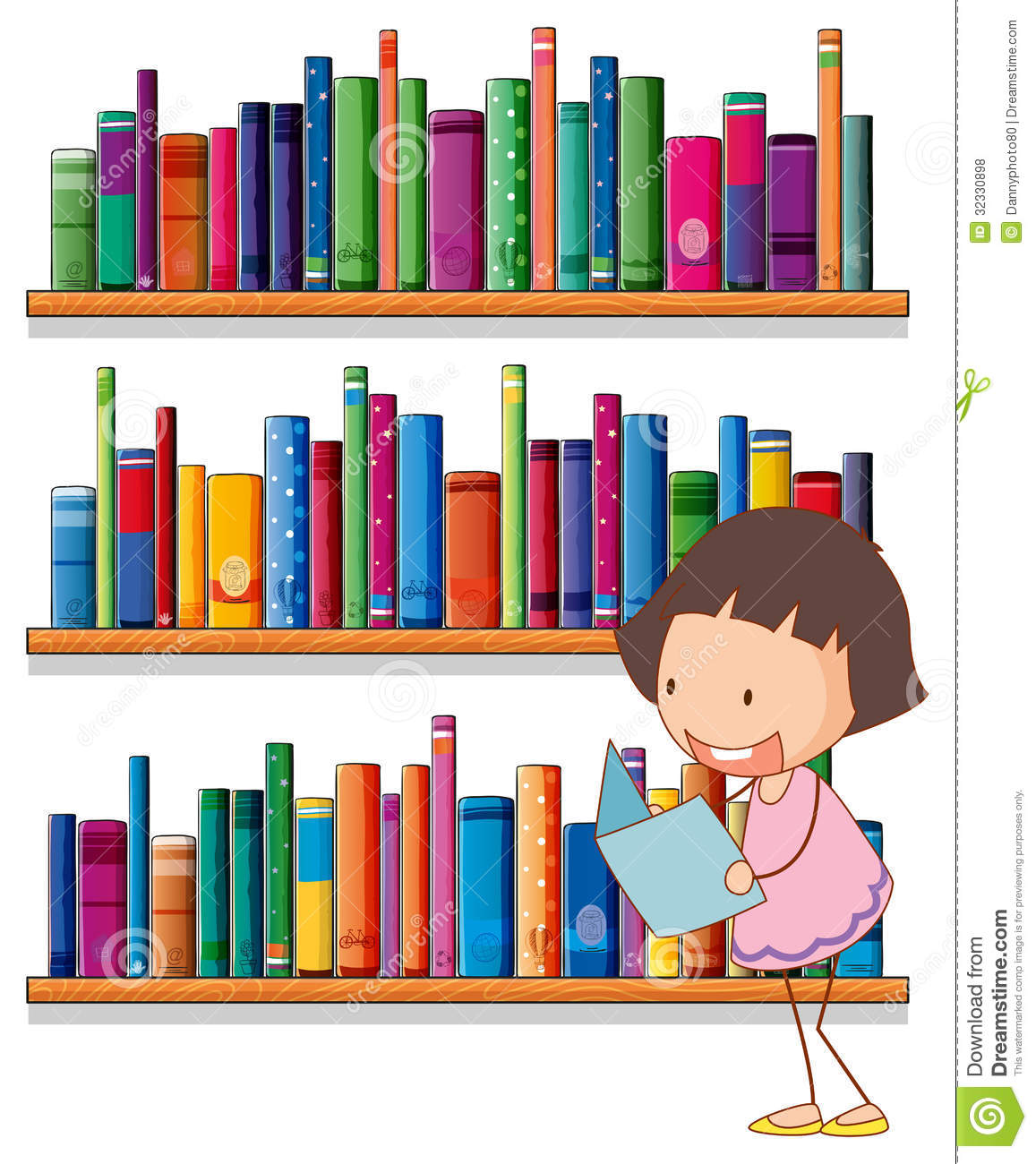 A Smiling Young Girl Reading In Front Of The Bookshelves