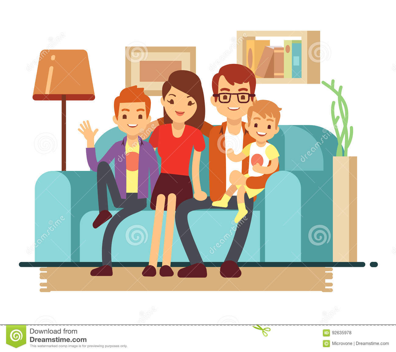 Smiling young happy family on sofa man woman and their for Family in the living room