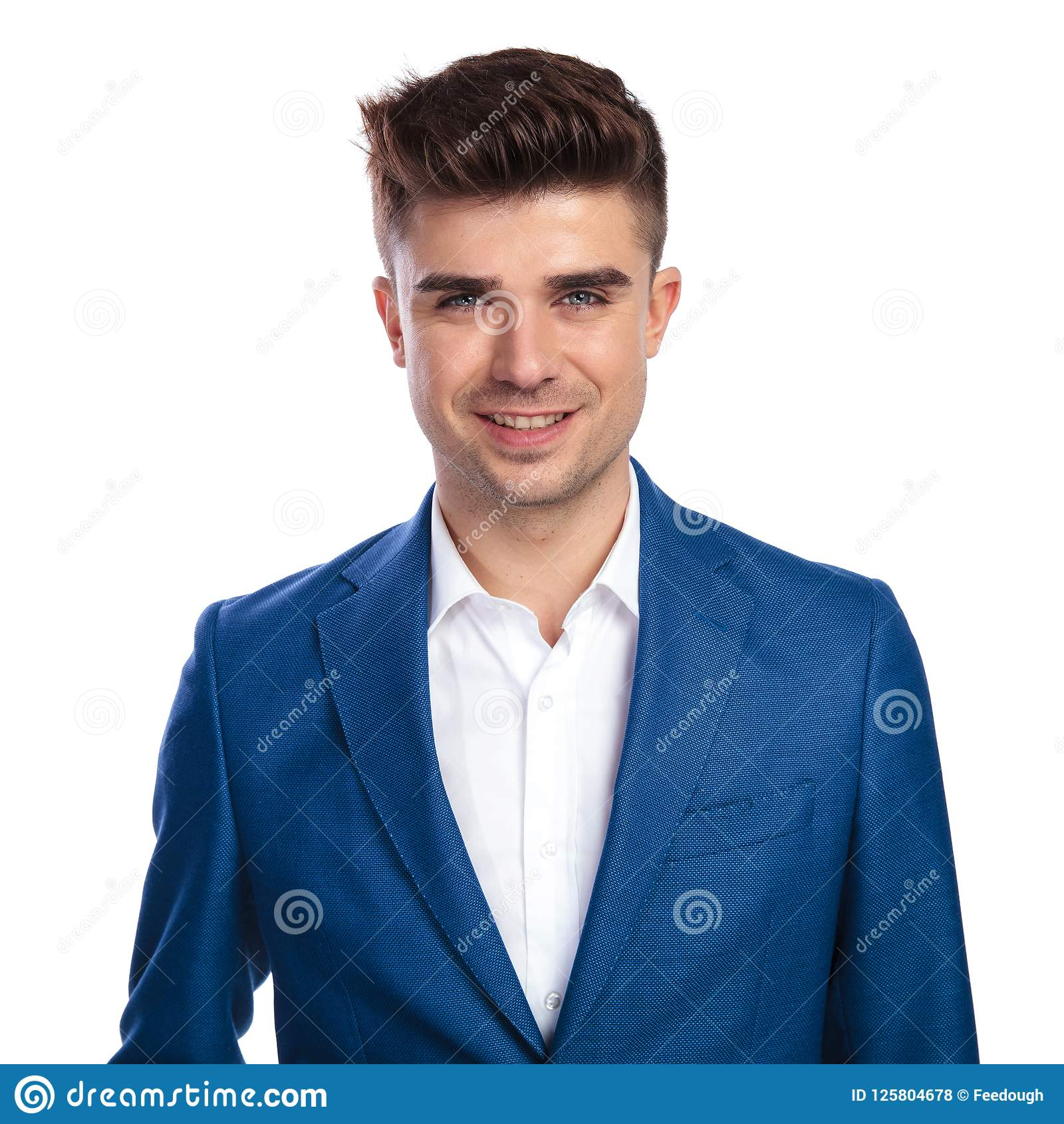 Smiling Young Man In Blue Coat And White Shirt Stock Photo ...