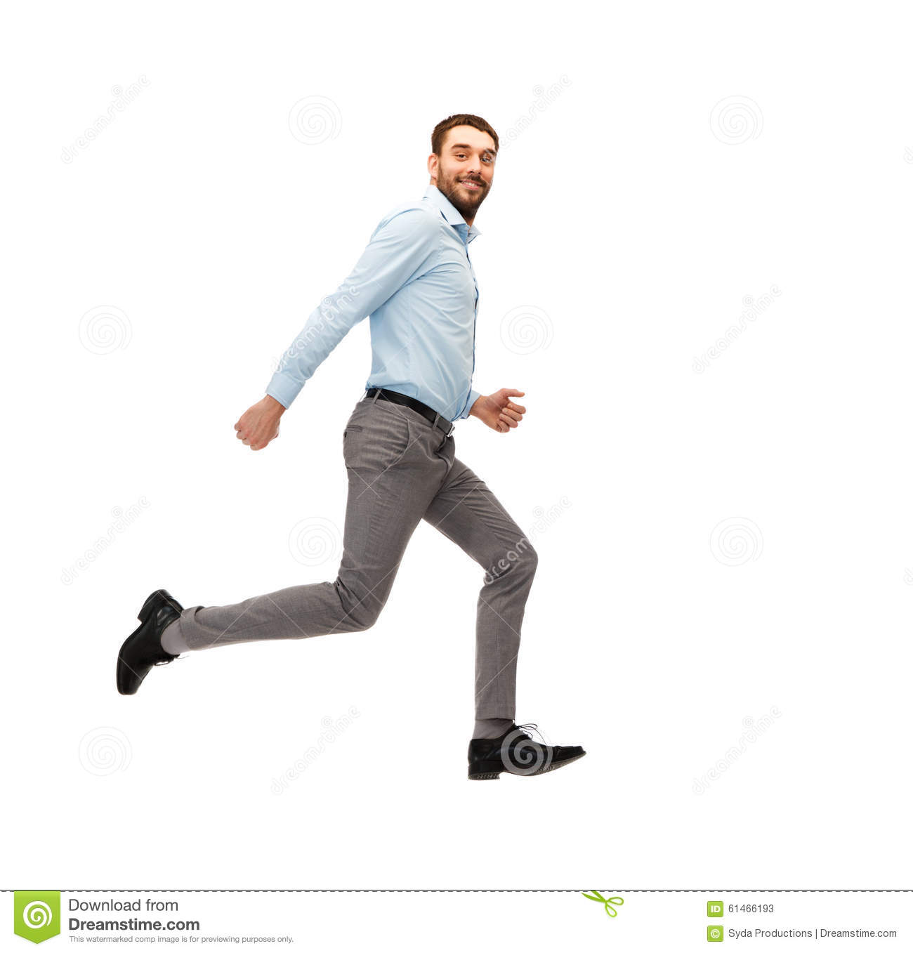 Smiling Young Man Running Away Stock Photo - Image: 61466193