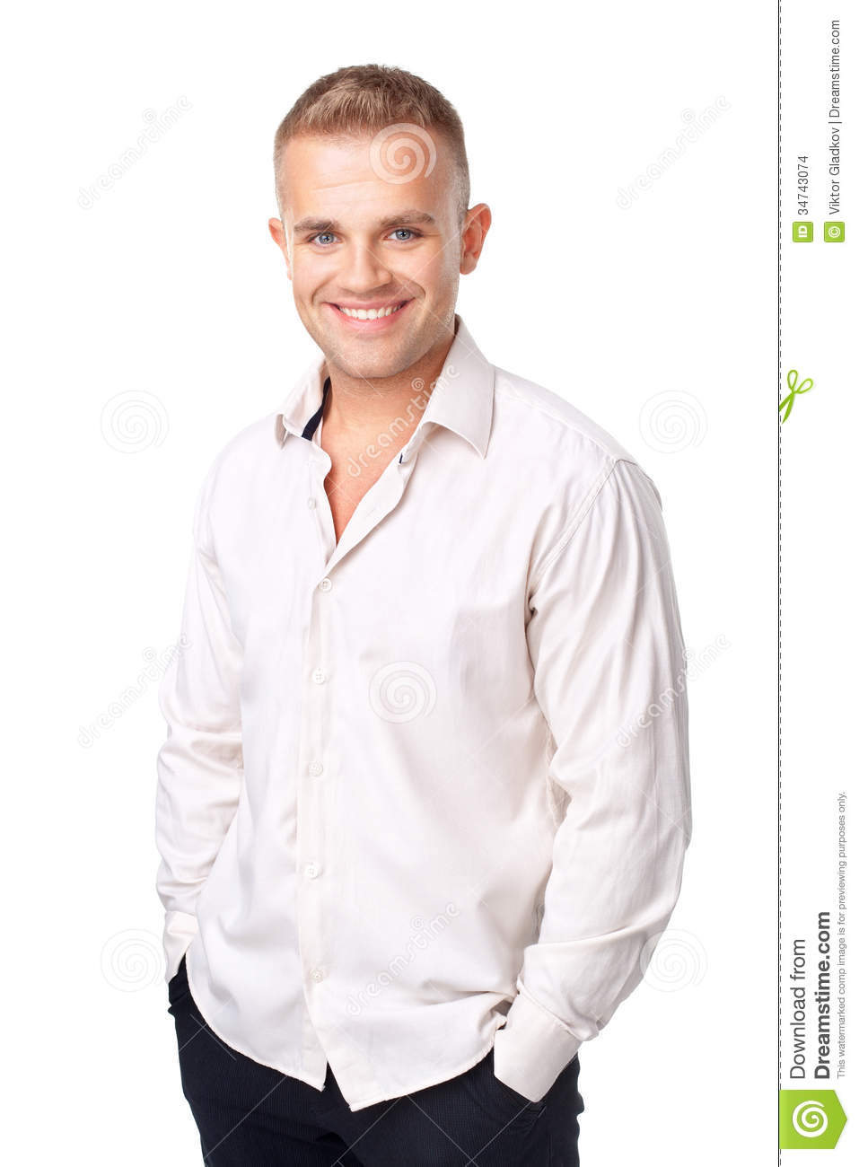 Smiling Young Man Wearing A White Shirt Isolated On White ...