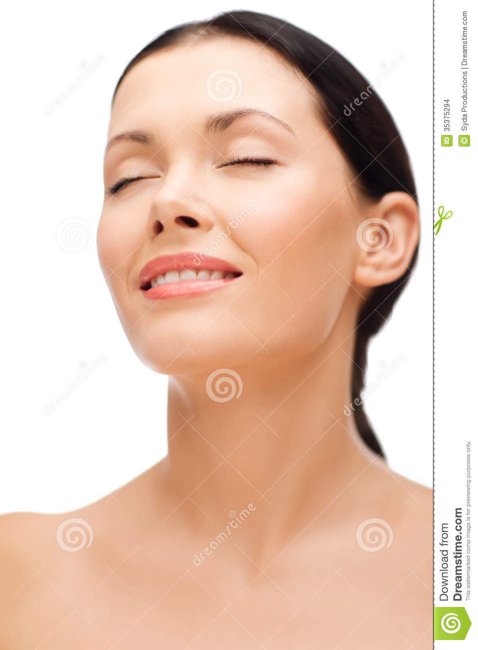 Smiling Young Woman With Closed Eyes Stock Photo - Image ...