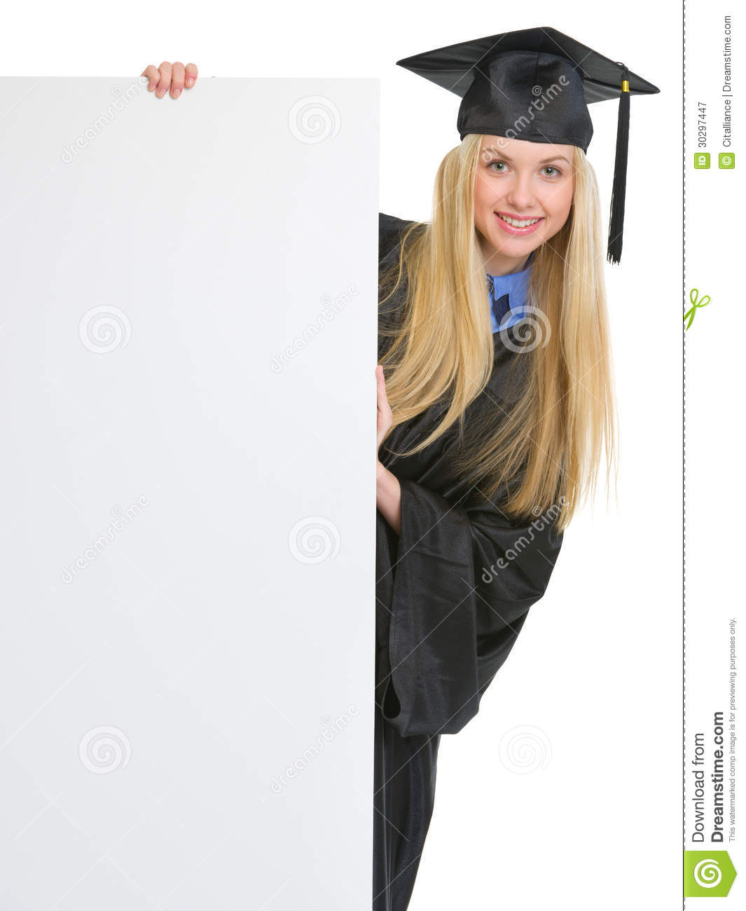 Girl In Graduation Gown Looking Out From Billboard Stock Image ...