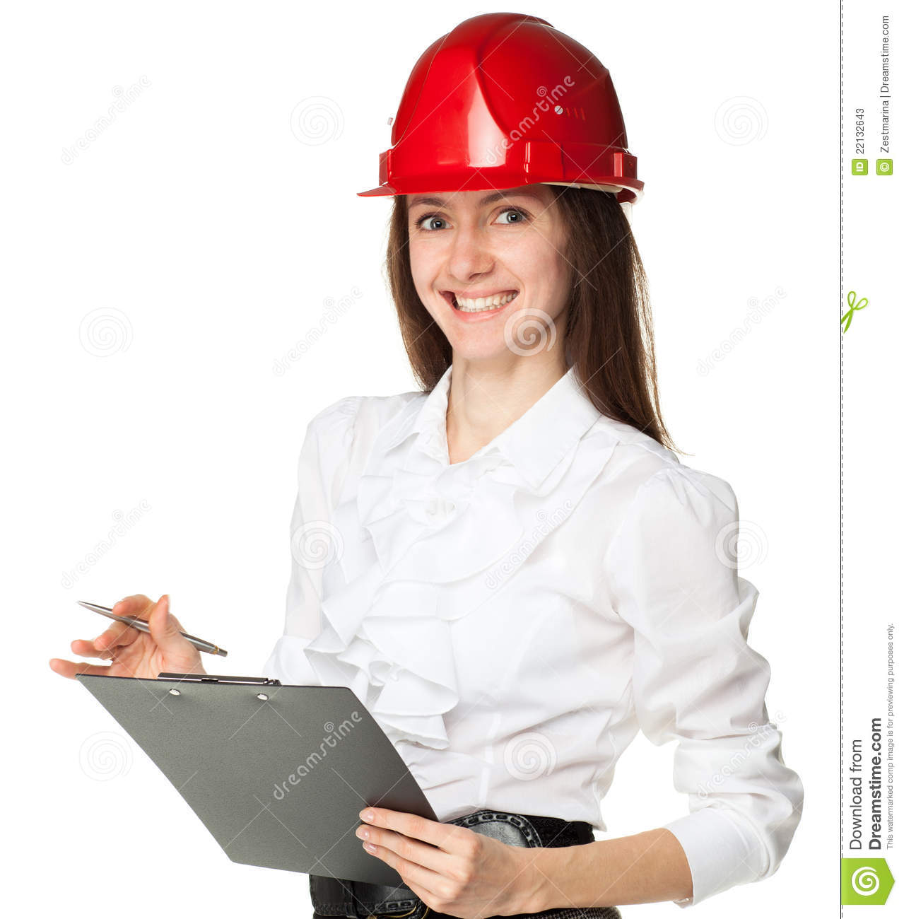 smiling young woman in hardhat holding clipboard stock image image