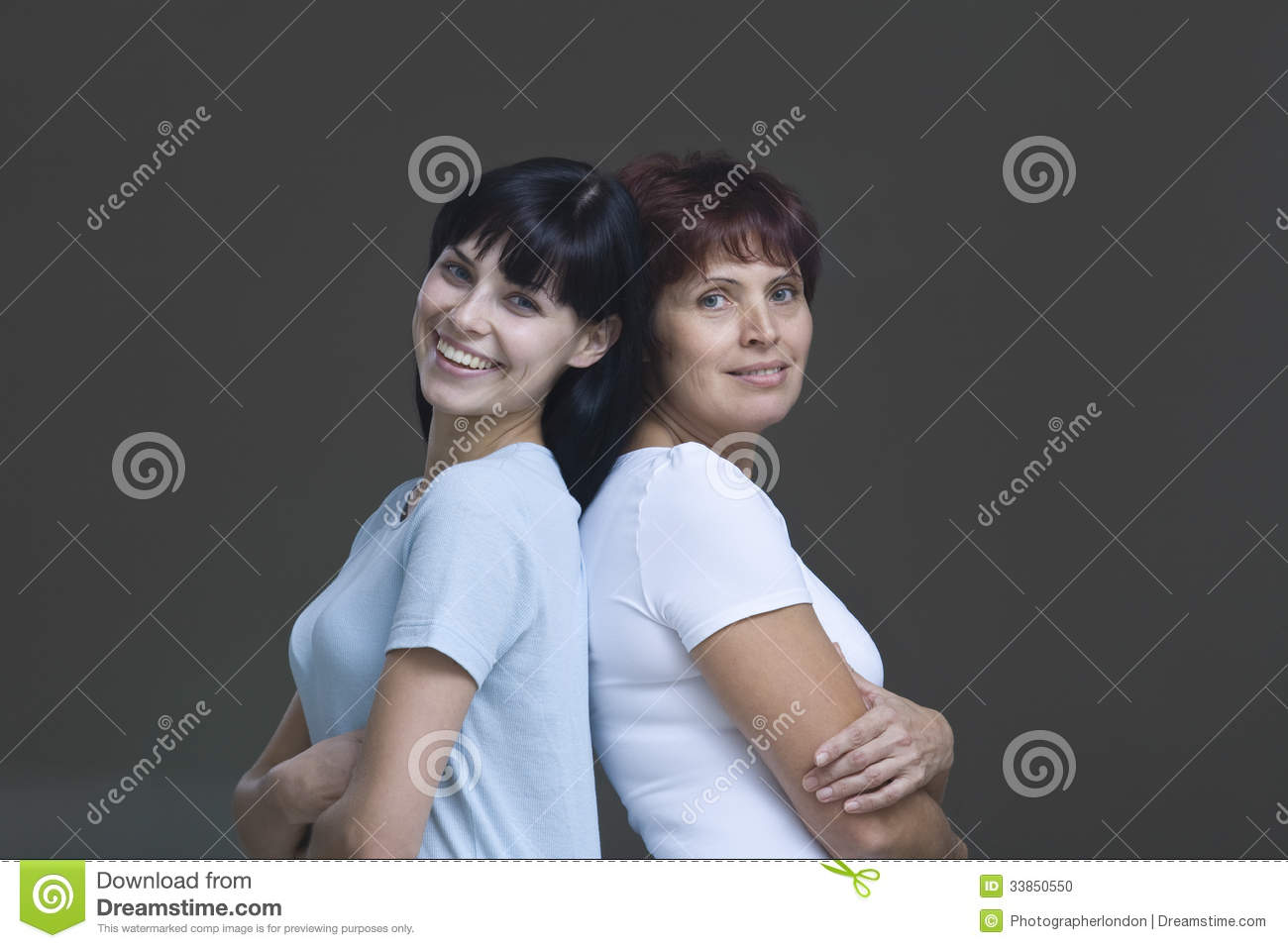 Smiling Young Woman With Her Mother