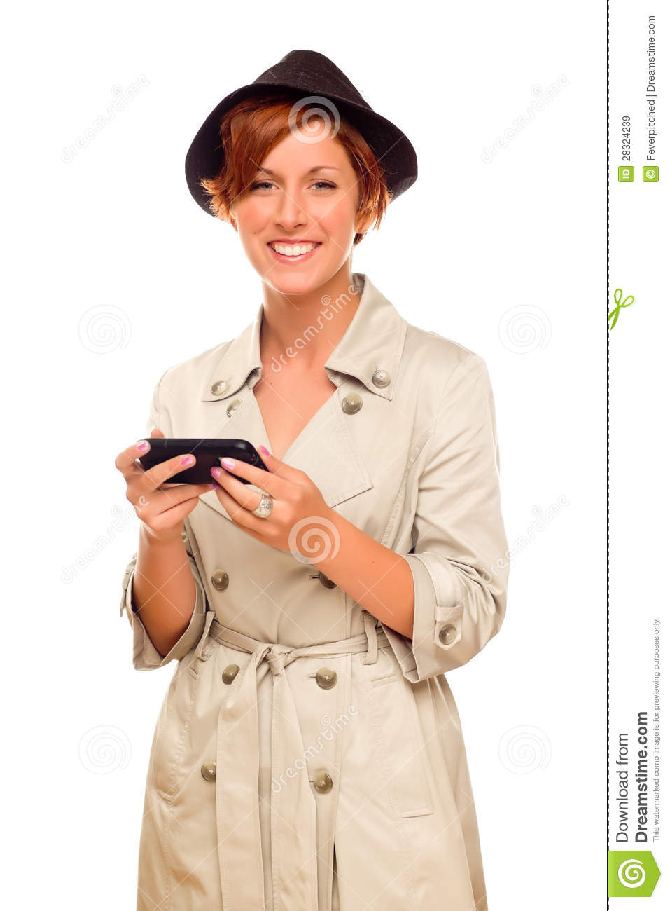 Woman Holding A Cell Phone On White Background Royalty
