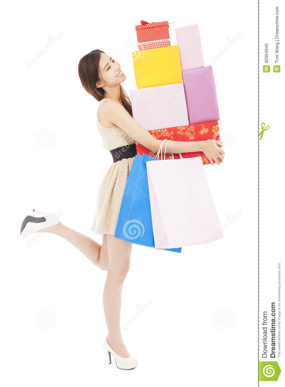 Innovative Woman Holding Shopping Bags Stock Image - Image 11865911