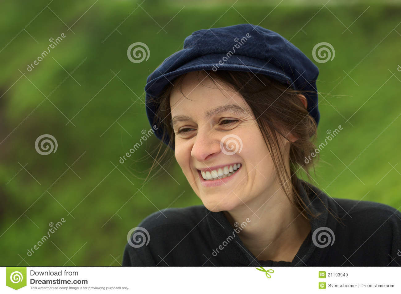 Smiling Young Woman in Park