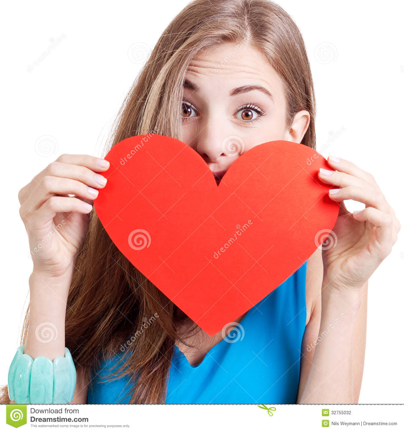 Smiling young woman and red heart love