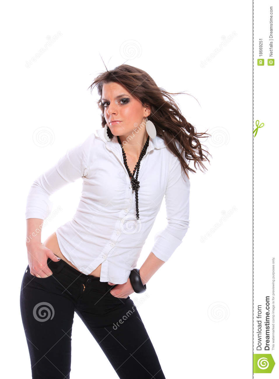 Pregnant Young Woman In A White Shirt Stock Photo - Image