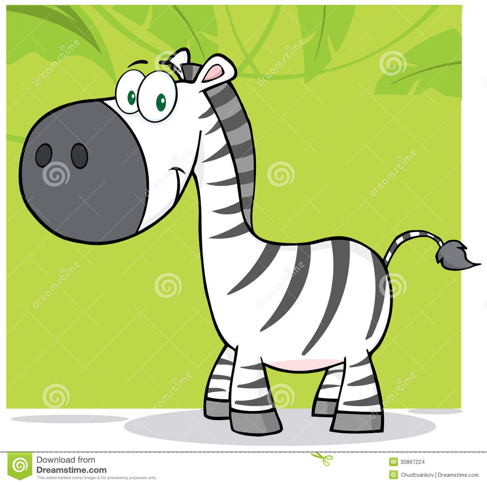 Cartoon Characters Zebra : Smiling zebra cartoon character with background stock