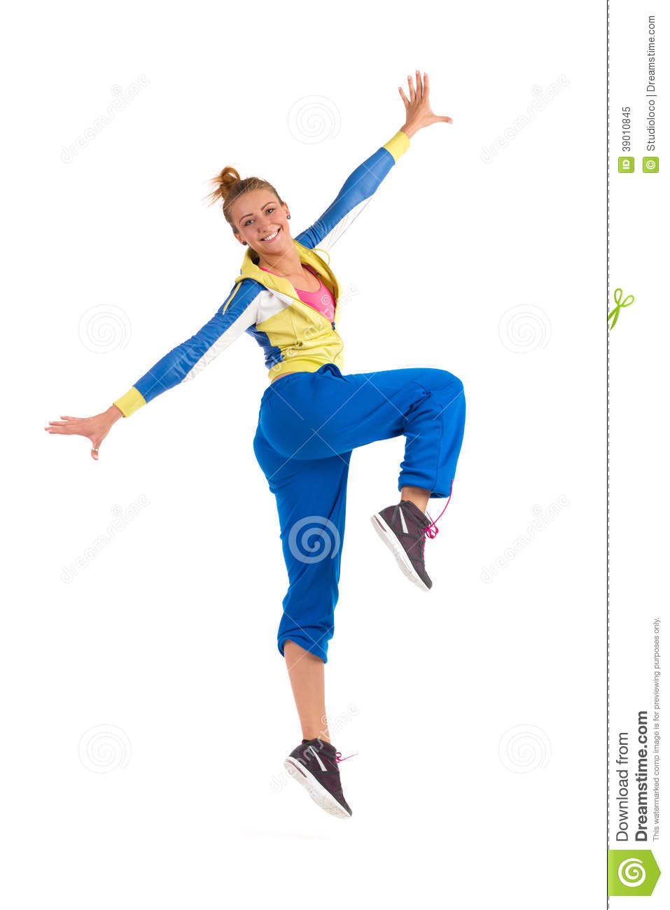 Smiling Zumba Instructor Dancing Stock Photo - Image: 39010845