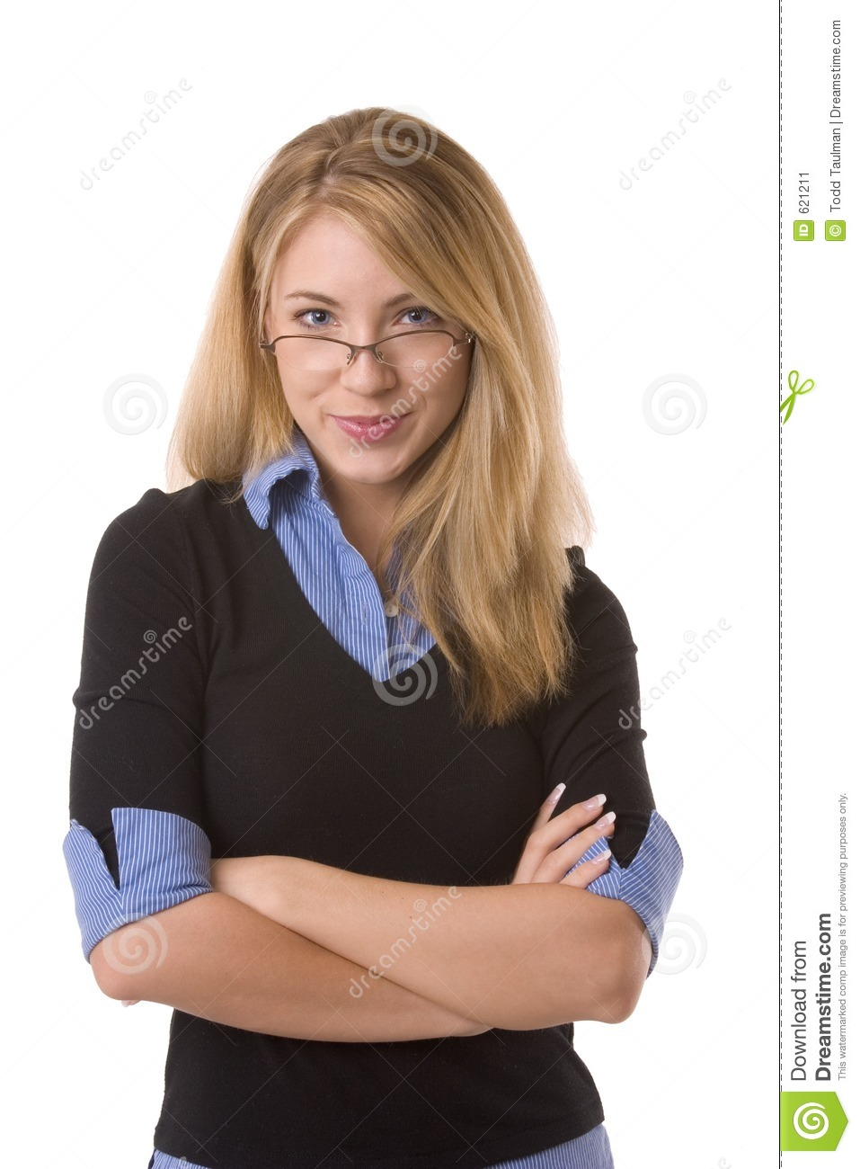 Pretty blond with blue eyes, glasses and smiling while crossing her ...