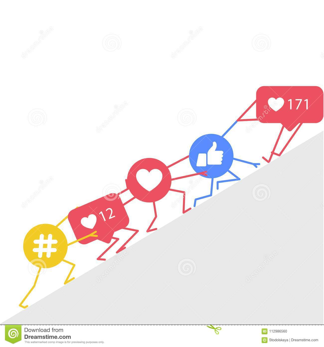 Smm promotion and marketing - hashtags icon, likes and rating