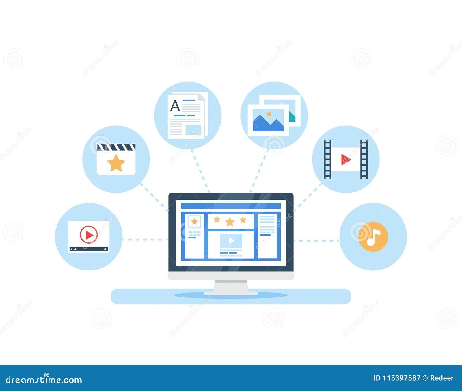 SMM, zufriedenes Marketing und Blogging Konzept im flachen Design