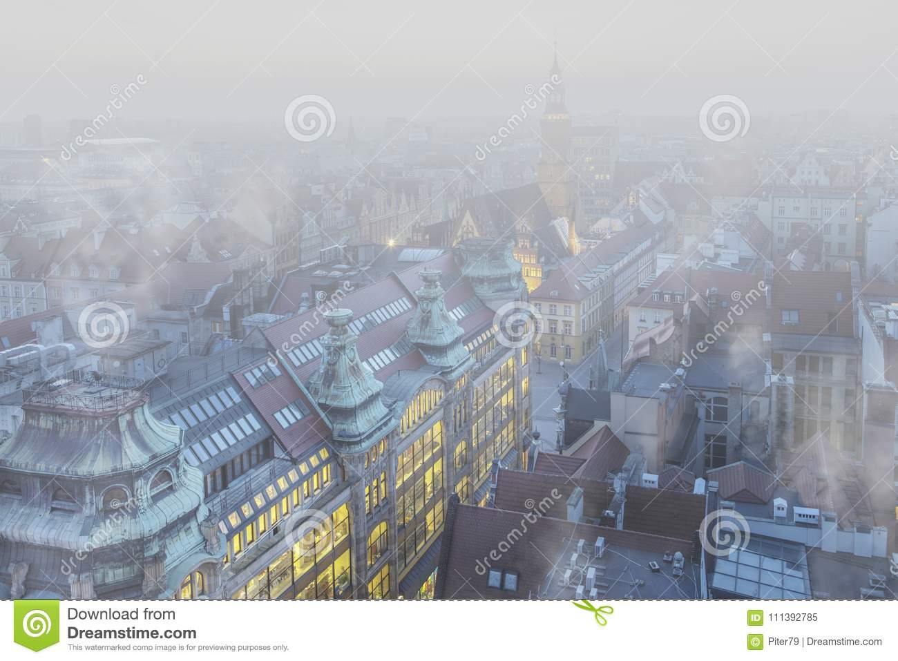 Smog over the city of Wrocław, Poland. Winter view of the city skyline