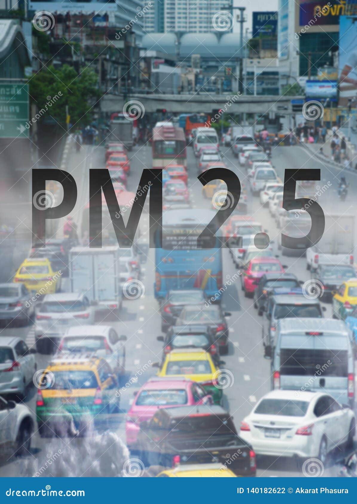 Smog-Straße von P.M. 2 Staub 5 Stadtbild mit schlechter Luftverschmutzung