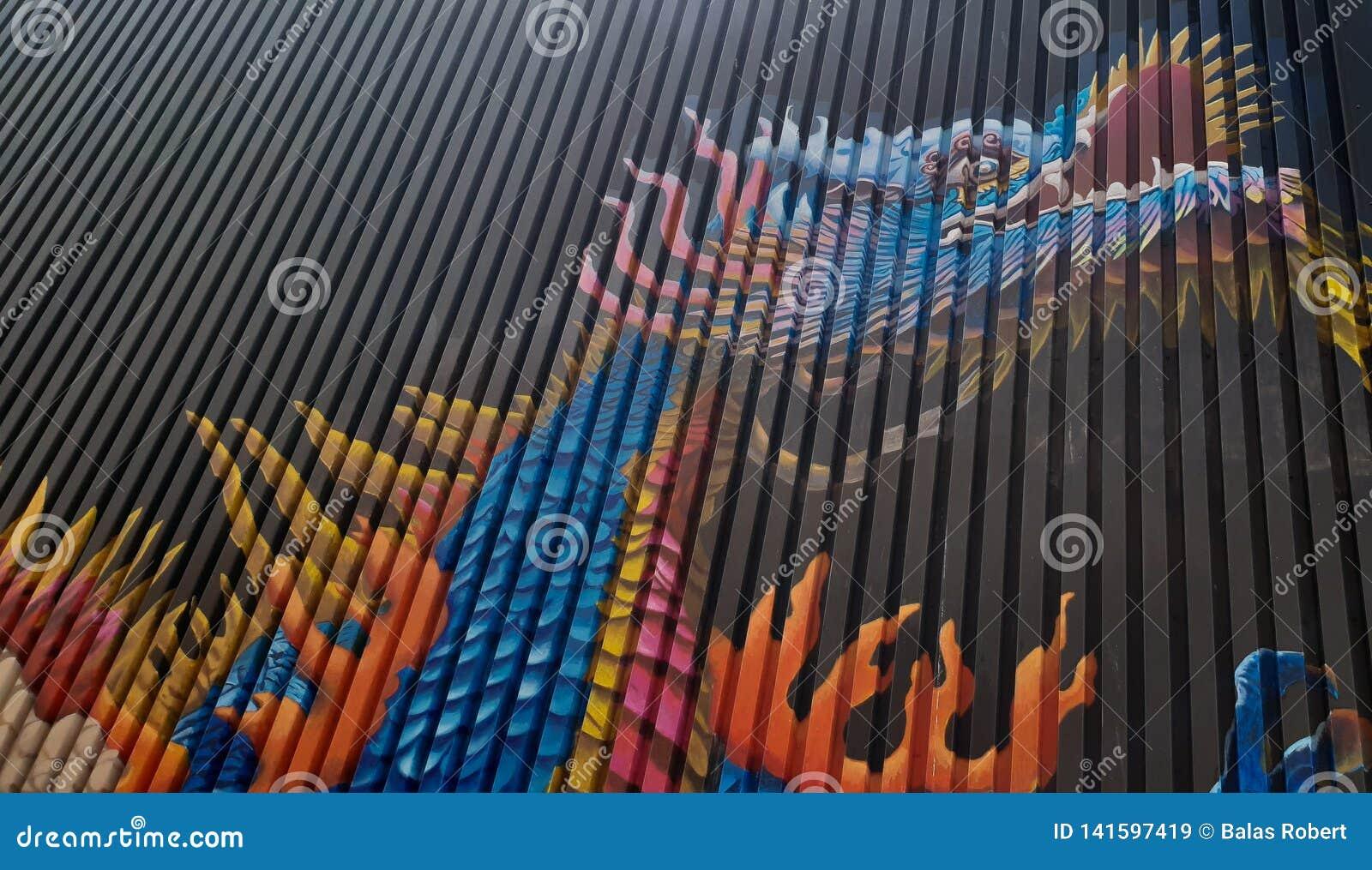 Smoków graffiti na zbiornika kolorze