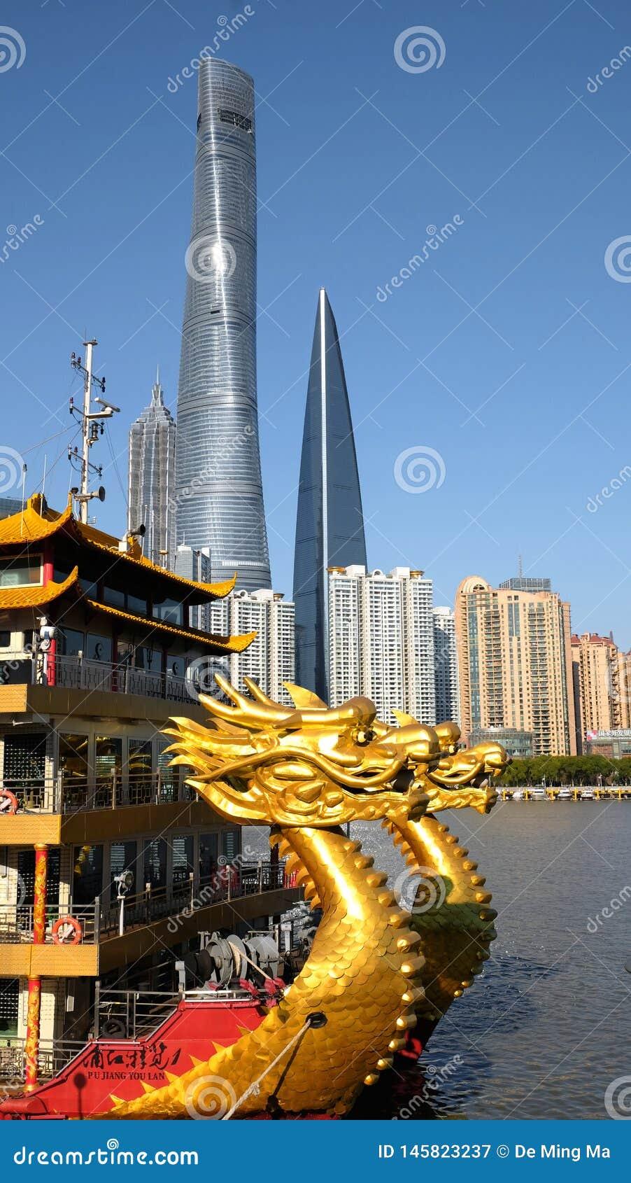 Smok łódź: Smok jest symbolem Chiny i Szanghaj jest w wiodącej pozycji w Chiny