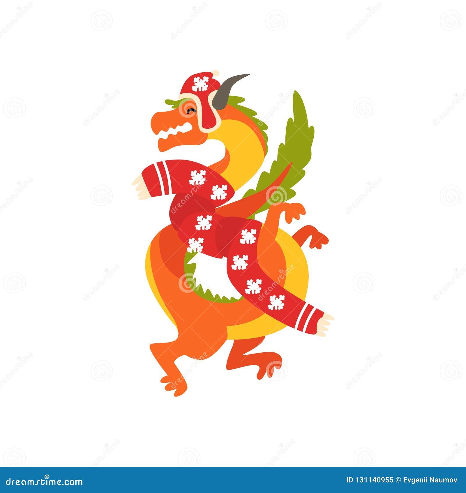 Smoka symbol nowy rok, śliczny zwierzę Chiński horoskop w Święty Mikołaj kostiumowej wektorowej ilustracji na bielu