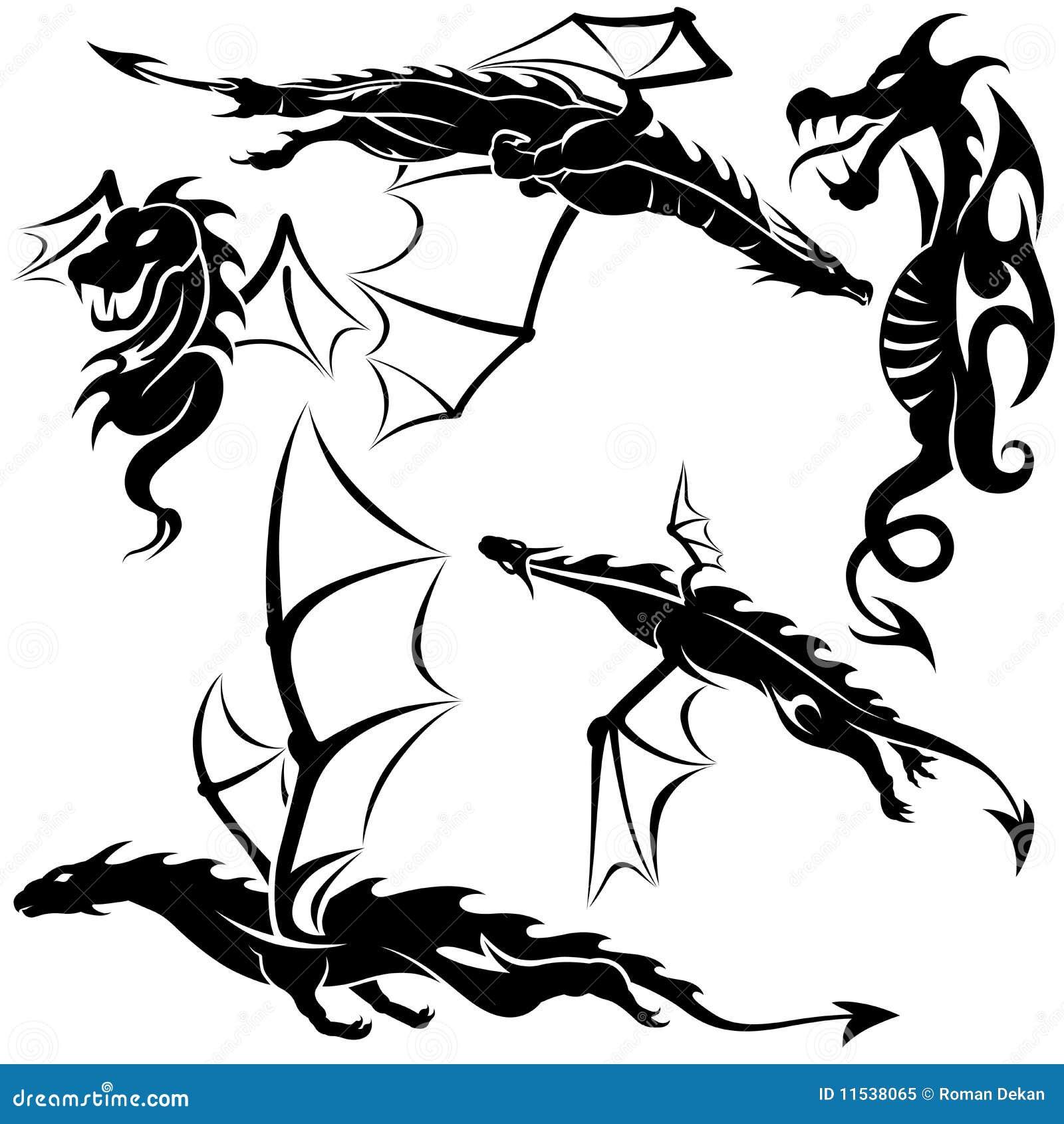 Smoka Tatuaż Ilustracja Wektor Ilustracja Złożonej Z Wzór