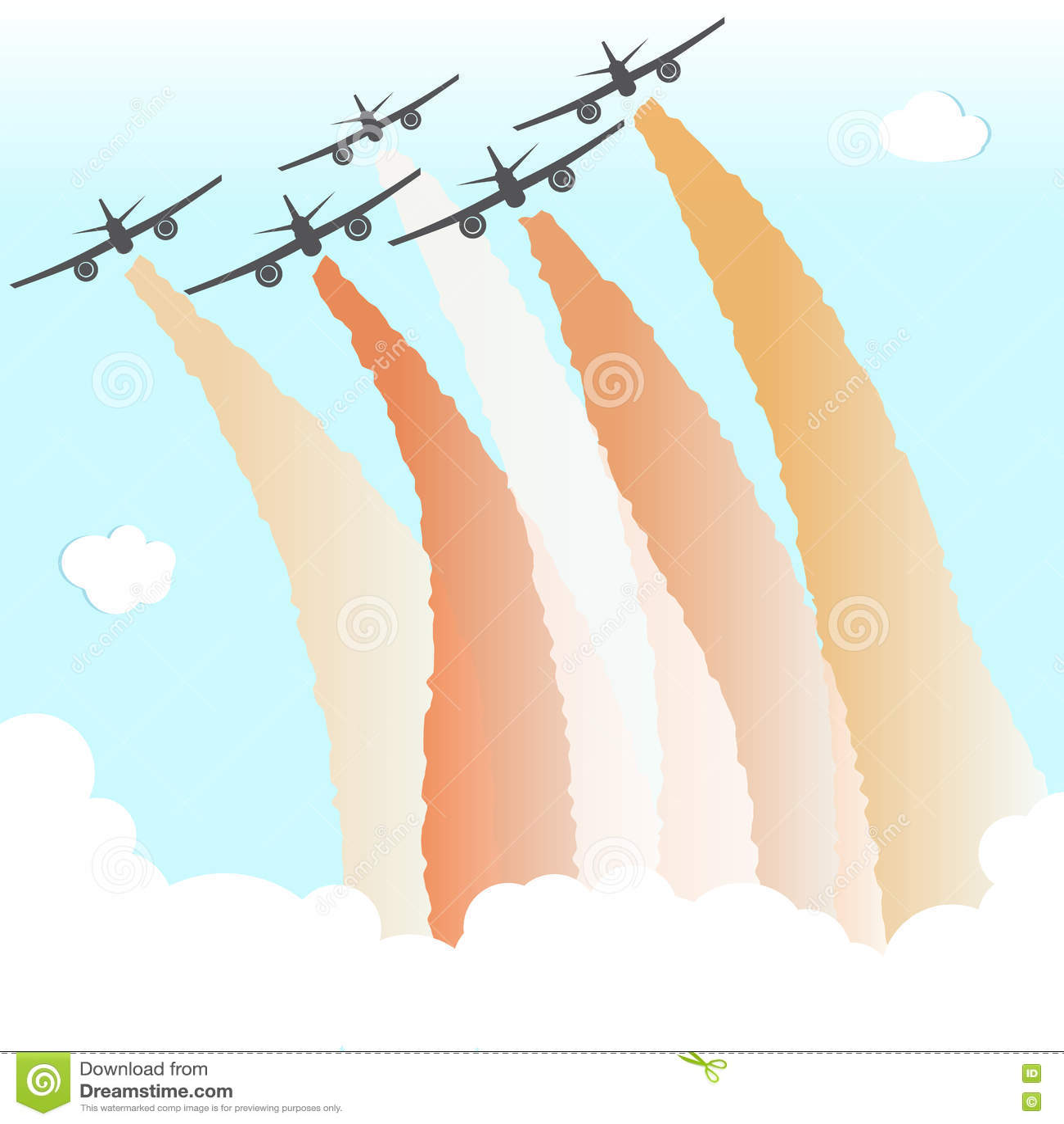 Smoke Color Sky Plane Parade Group Airplane Fly Peace Joy Vector Illustration