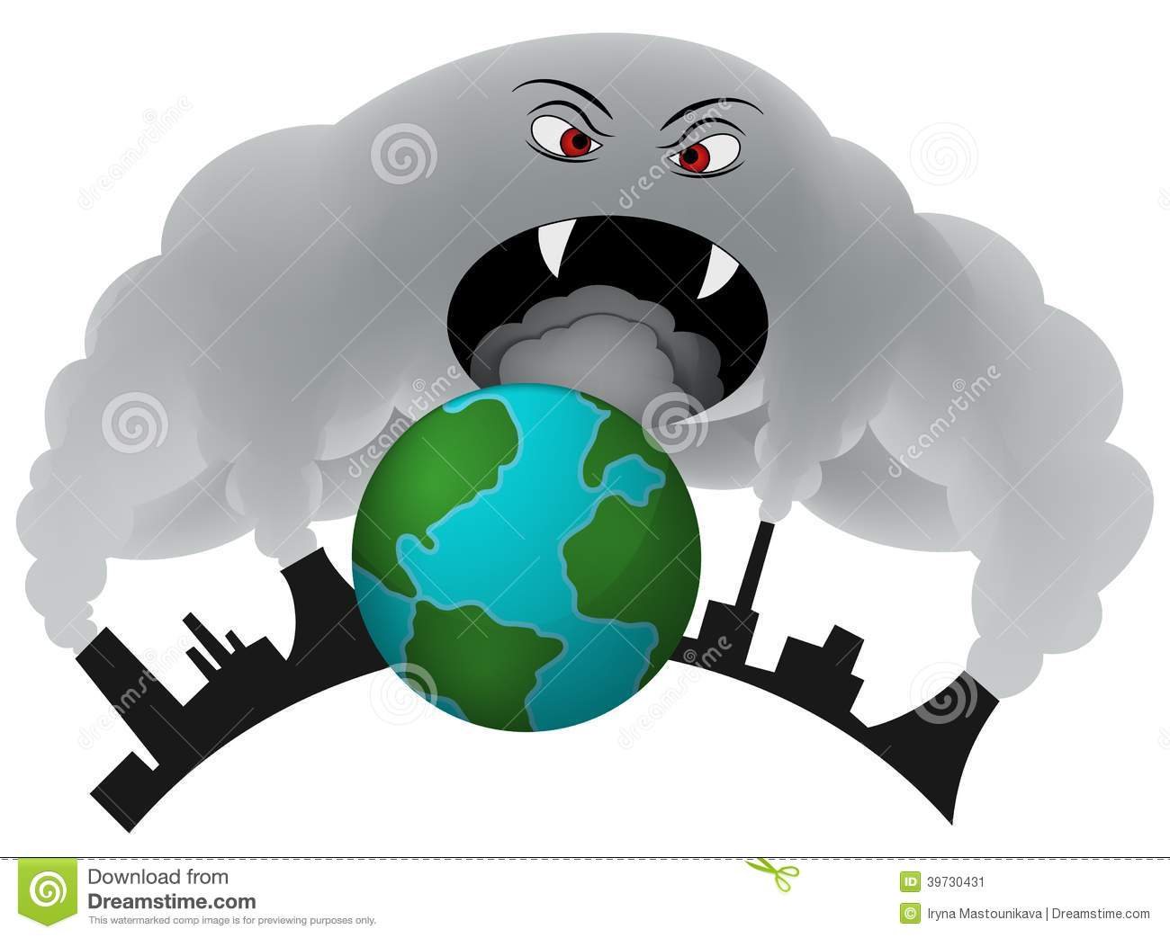 Smoke Covering The Earth. Air Pollution. Stock Illustration - Image ...