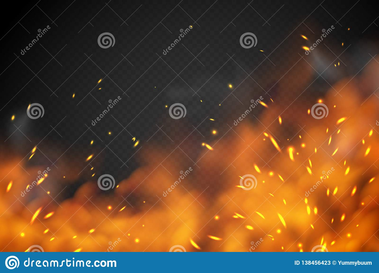 Smoke fire effect. Burning embers red hot metal ignite sparks fiery heat transparent smog texture isolated on black