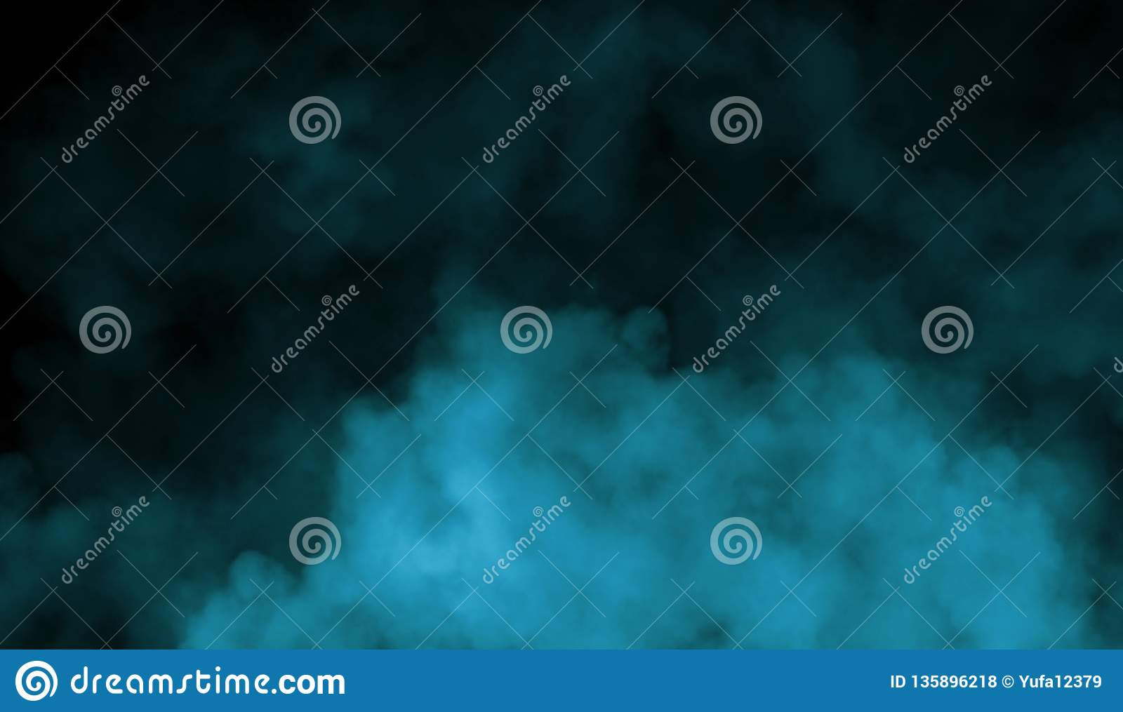 Smoke on the floor . Isolated black background.Abstract blue smoke mist fog on a black background. Texture. Design element.
