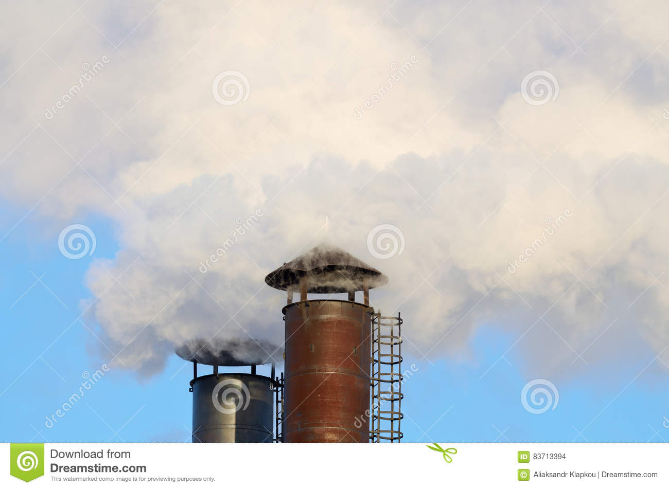 The Smoke From Industrial Chimneys. Stock Illustration