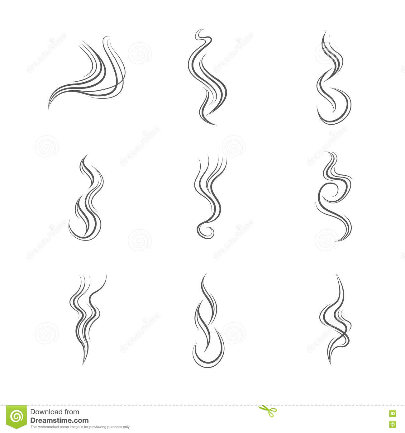 Drawing Vector Lines : Smoke lines vector set stock illustration of