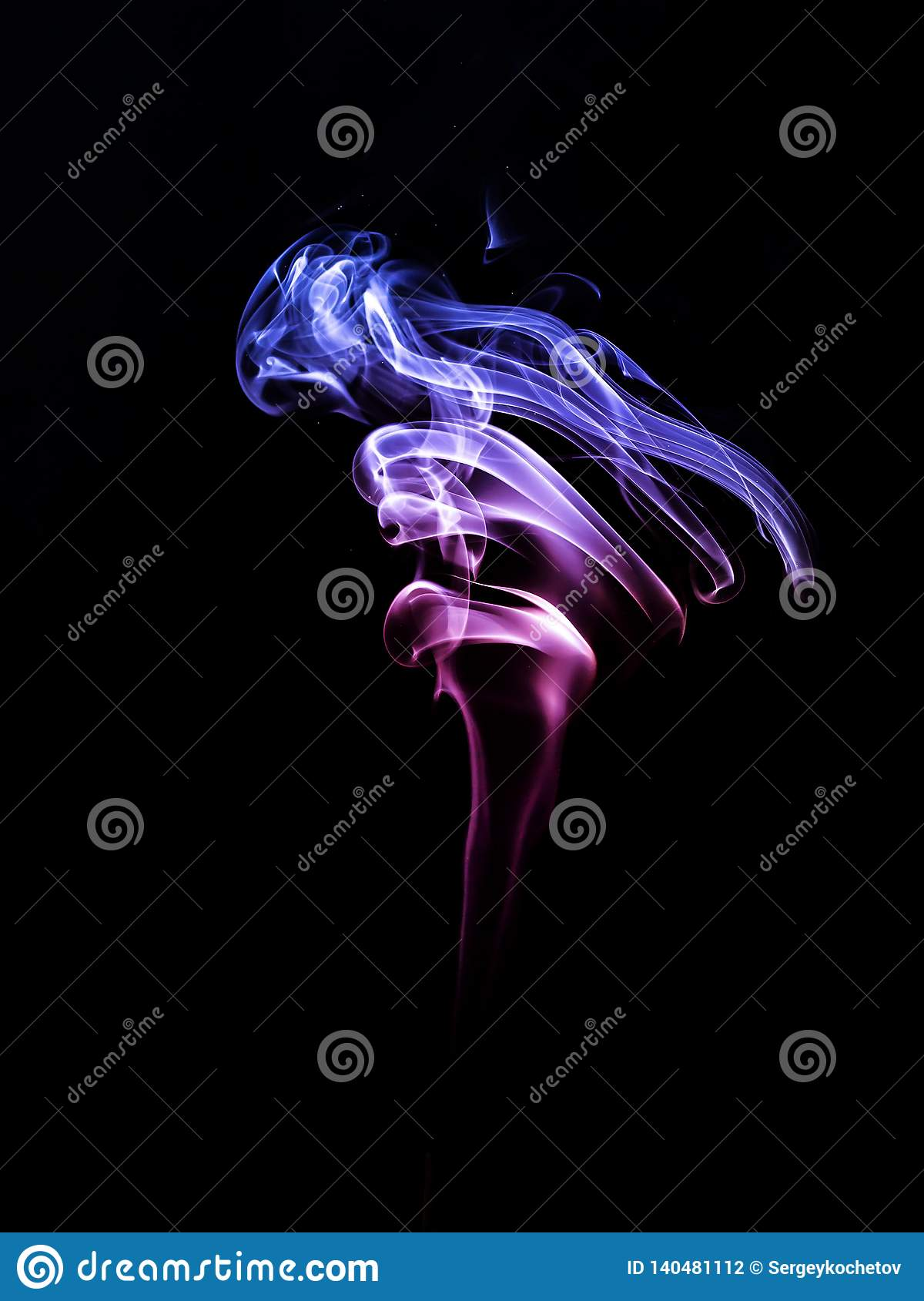 Smoke red blue on a black background. Abstract background.