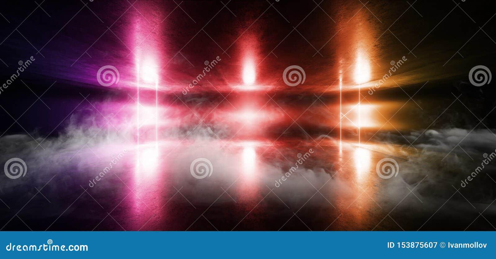 Smoke Sci Fi Neon Glowing Light Vibrant Red Purple Orange Stage NIght Club Background Grunge Concrete Dark Tunnel Hall Corridor