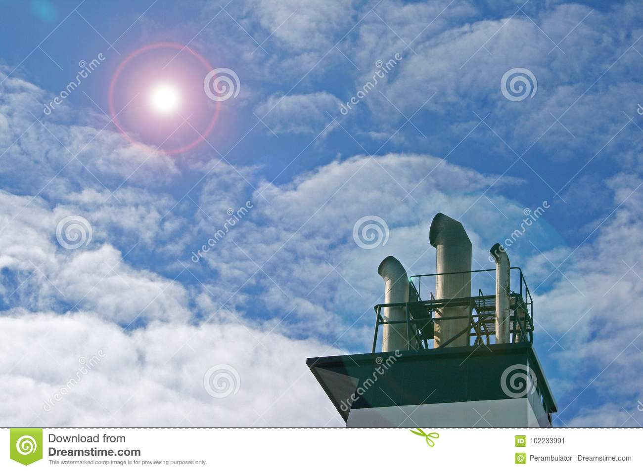 SMOKE STACKS OF SHIP WITH ADDED LENS FLARE