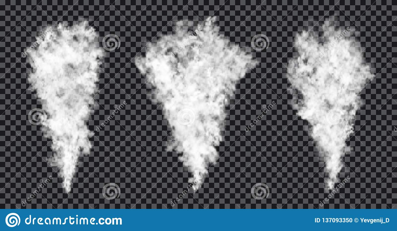 Smoke stream on transparent background. Realistic smoke texture, fog or mist effect