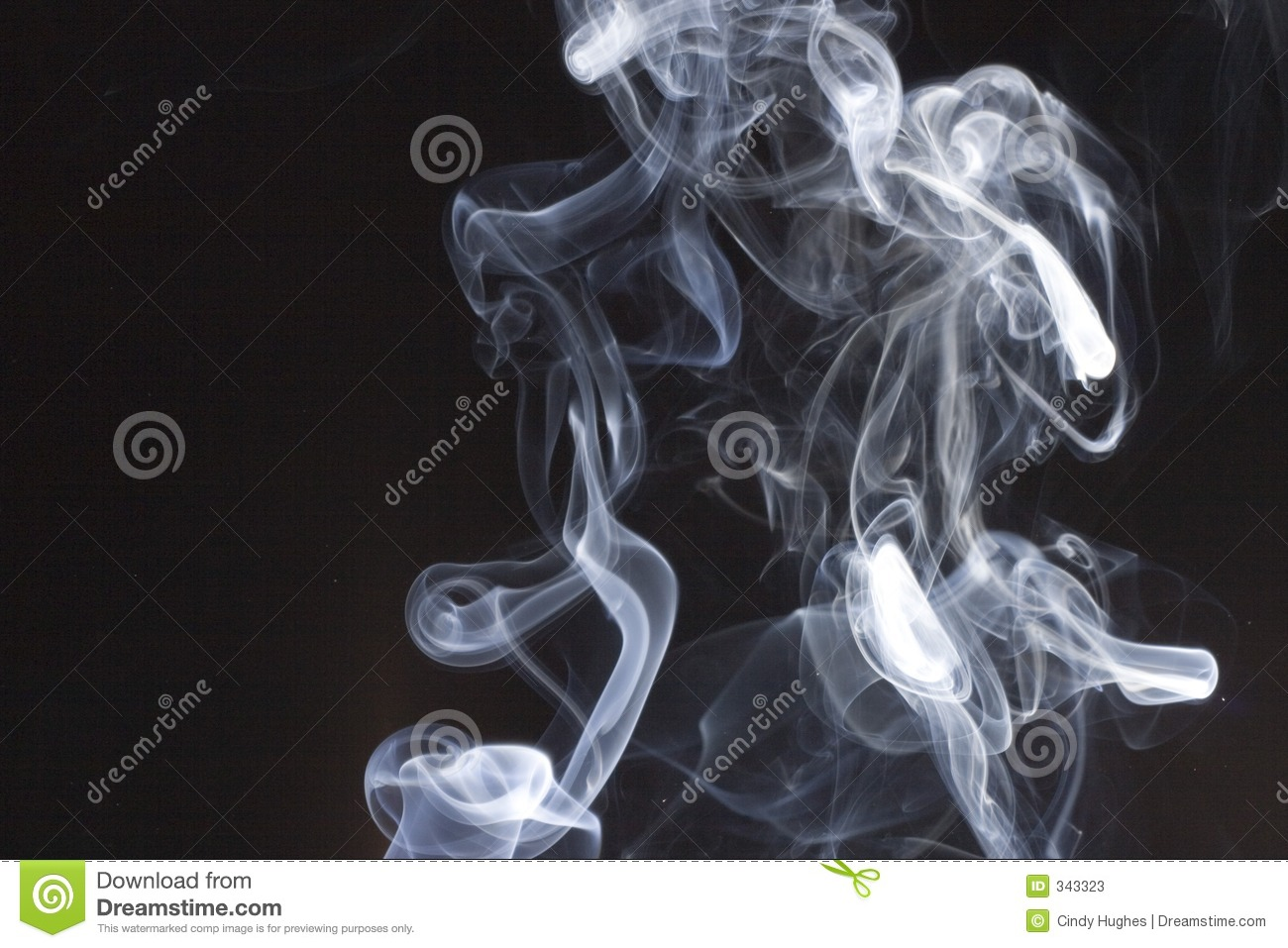 Abstract fume pattern: black smoke swirls and curves on white ...