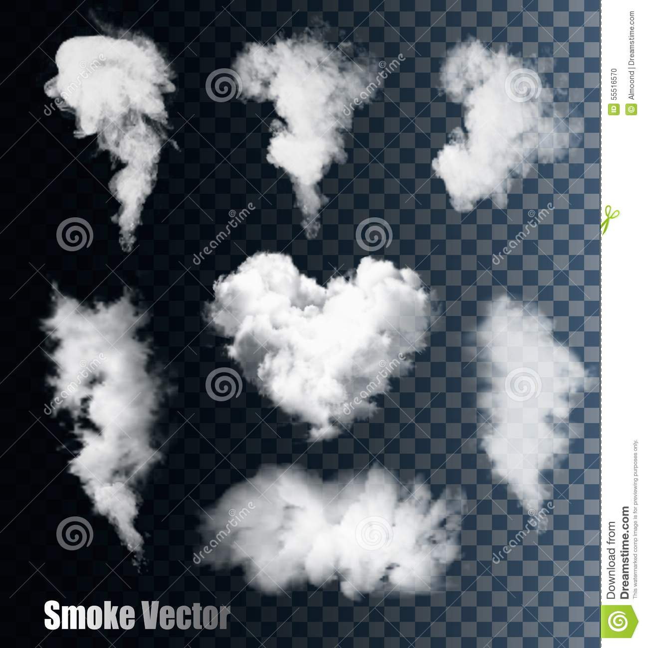 smoke vectors on transparent background  stock vector