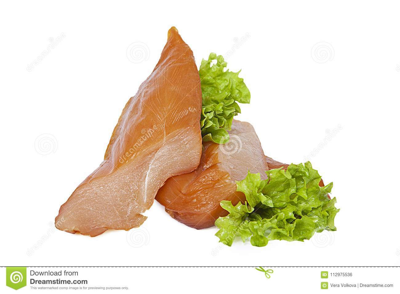 Smoked chicken breast with lettuce leaves. Isolated on white background