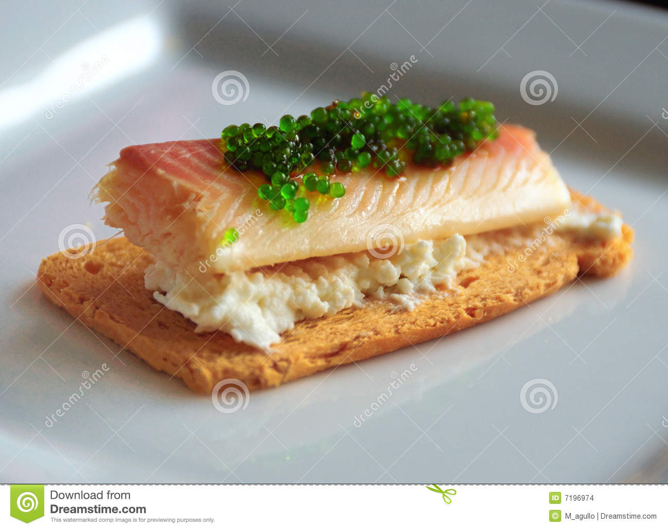 Smoked fish canape stock images image 7196974 for Smoked trout canape