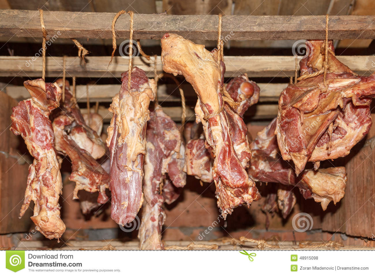 Smoked ham bacon and bones hanging