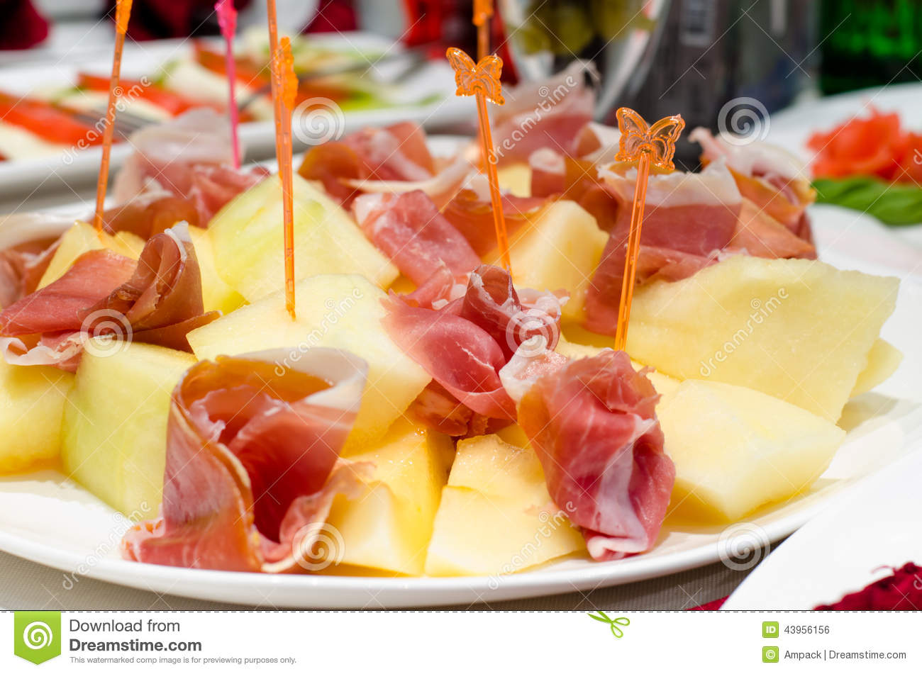 Smoked Ham And Cheese Appetizers On A Buffet Stock Photo
