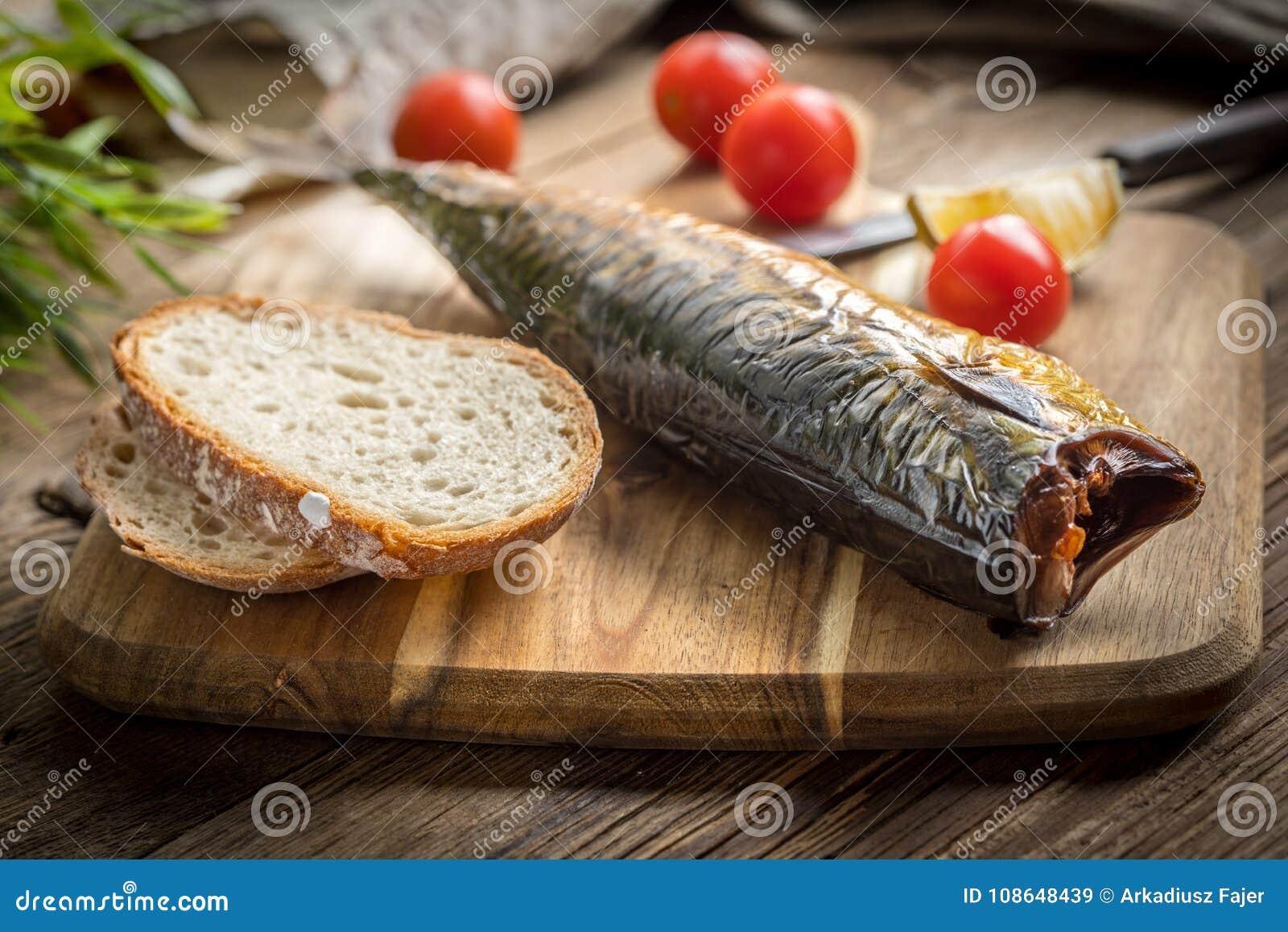 Smoked mackerel and bread.