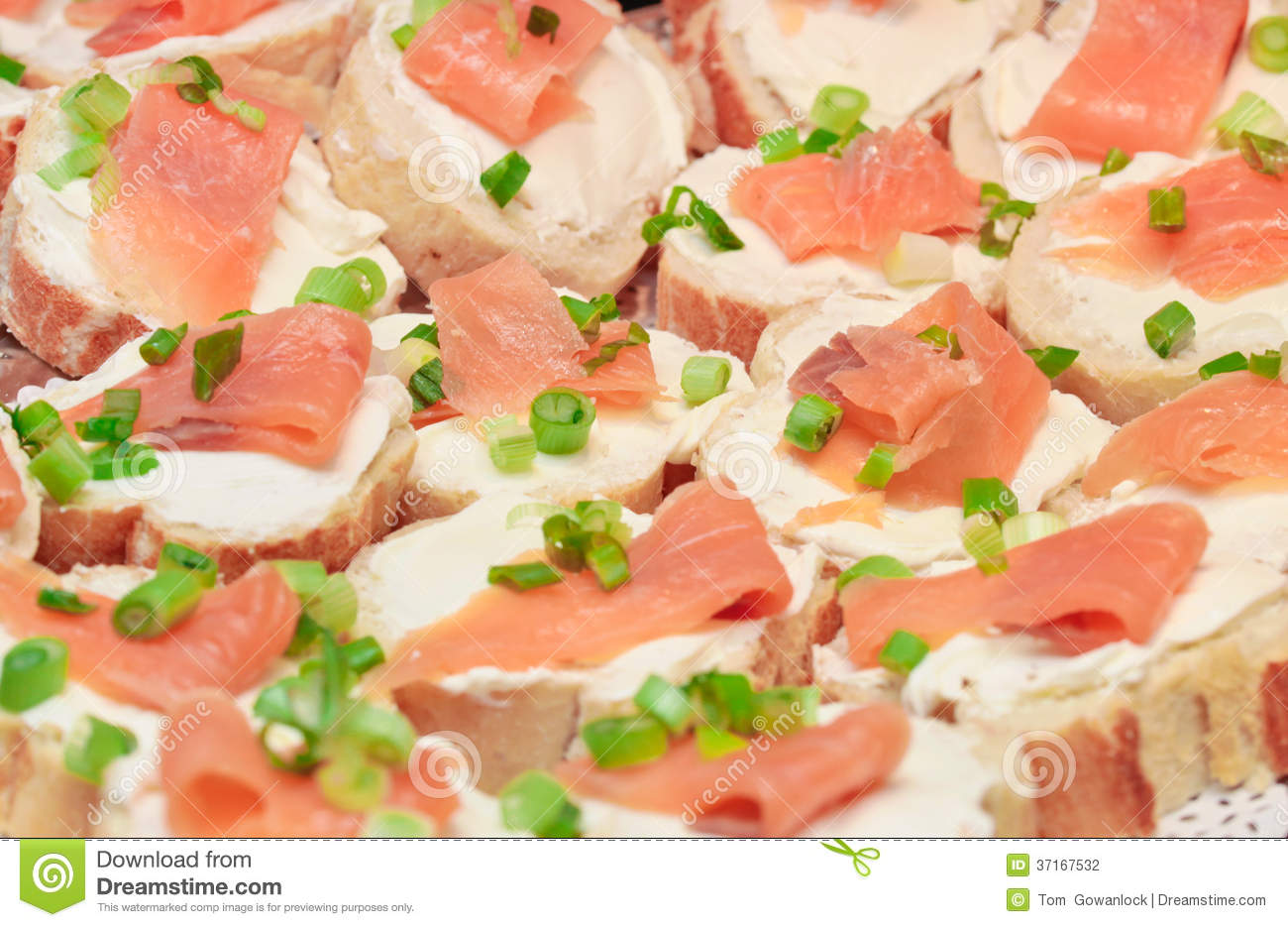 Smoked salmon canape stock photography image 37167532 for Smoked salmon cream cheese canape