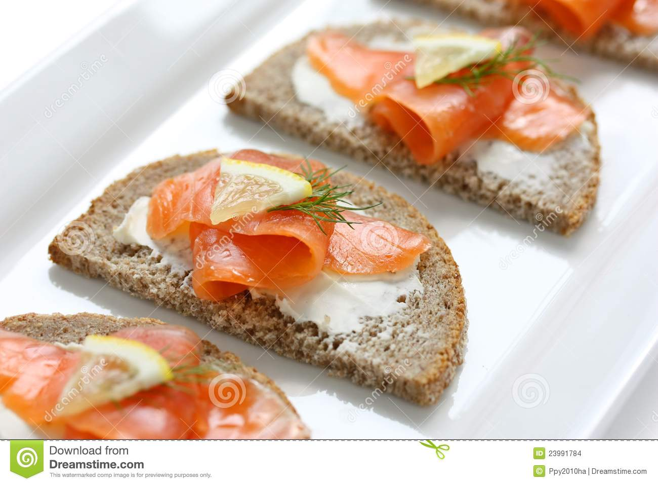 Smoked salmon canapes stock images image 23991784 for Smoked salmon canape