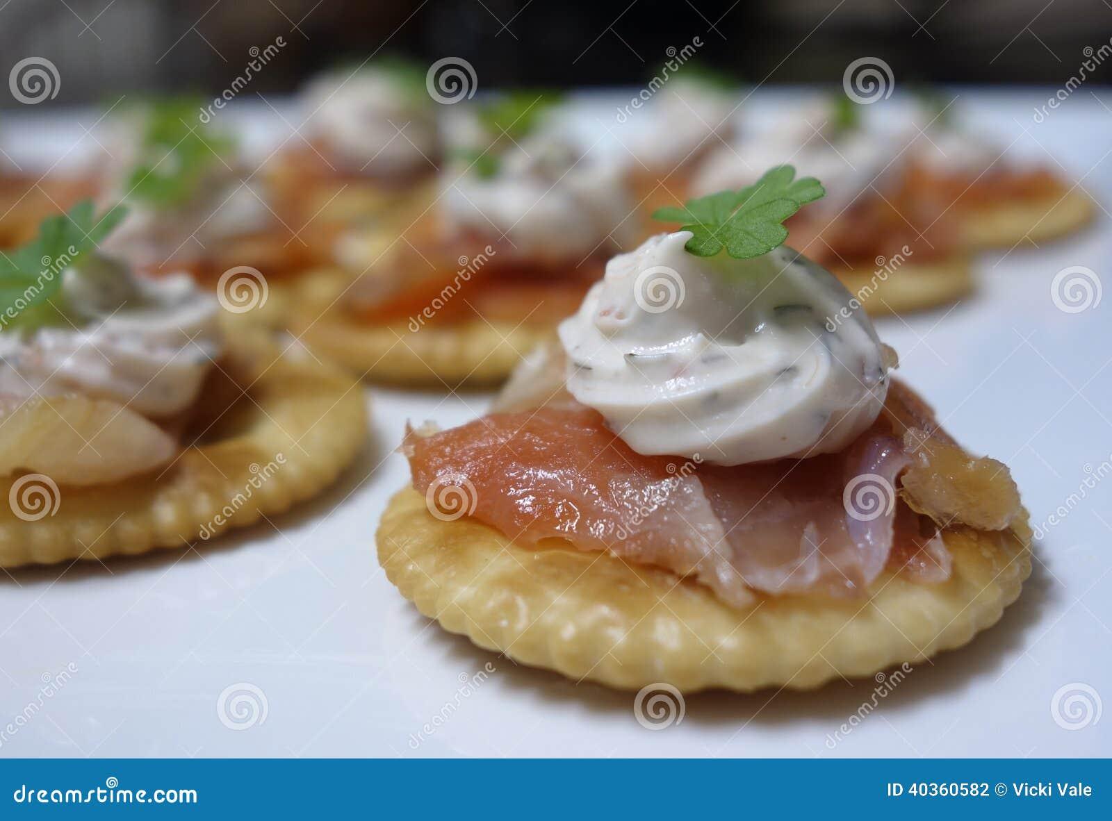 Smoked Salmon Canapes. Stock Photo - Image: 40360582