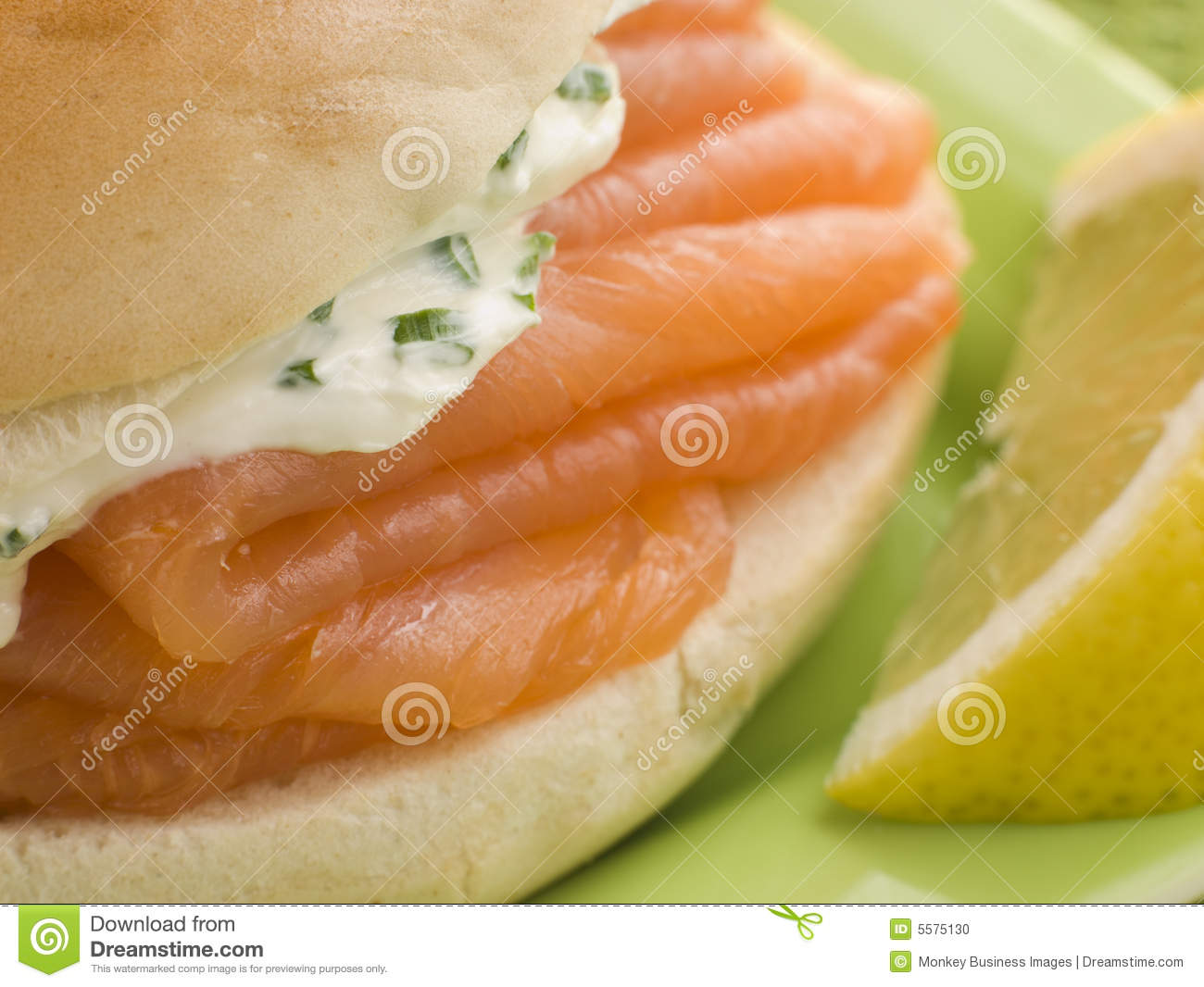 Smoked Salmon And Cream Cheese Bagel Stock Photo - Image: 5575130