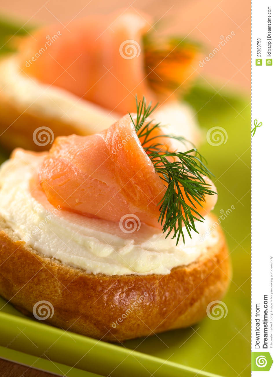 smoked salmon and cream cheese canape royalty free stock