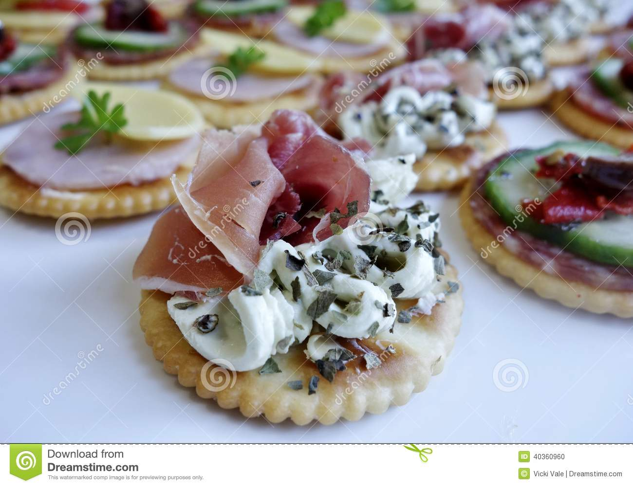 Smoked salmon and cream cheese canape stock photo image for Canape with cheese